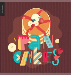 Lettering composition love spring pancakes vector