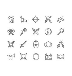 Line archaic war icons vector