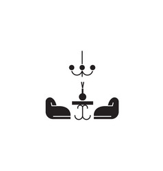 living room black concept icon living room vector image