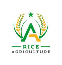Logo design letter a rice farming vector