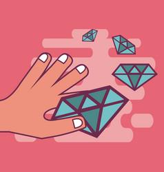 luxury diamonds cartoons vector image