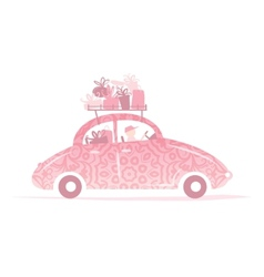 Man driving pink car with gifts on roof vector