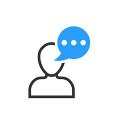 man head mind thinking icon in flat style speech vector image