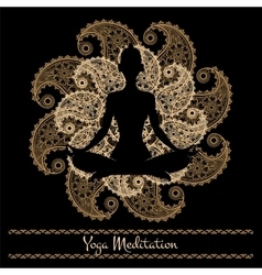 Mandala and meditation person yoga background vector