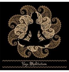 Mandala and meditation person yoga background vector image