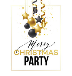 merry christmas card with gold and black balls vector image