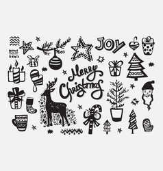merry christmas collection handdrawn elements vector image