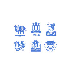 milk natural products logos set 100 percent fresh vector image