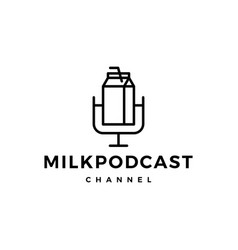 milk podcast logo icon for milk review blog video vector image