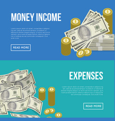 money income flyers with paper banknotes vector image