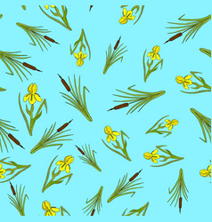 nature seamless pattern with iris and cattail vector image