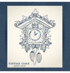 Old retro cuckoo clock postcard vector