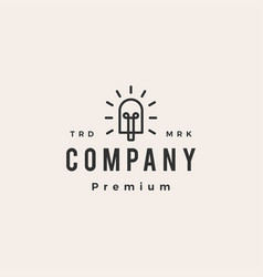 Popsicle bulb hipster vintage logo icon vector