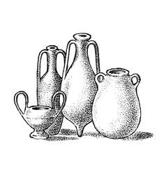 Pottery ancient greece greek clay pots vector