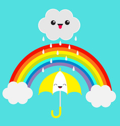 Rainbow smiling laughing umbrella cute cartoon vector