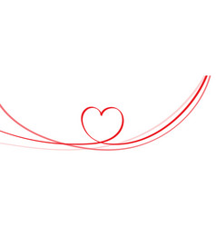 red heart shape on circle ribbon vector image