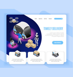 robot delivery isometric web page vector image