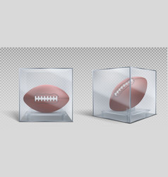 rugby ball in transparent box case vector image