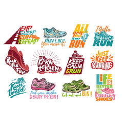 Run lettering on running shoes sneakers or vector