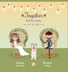 Rustic bohemian cartoon couple wedding invitation vector