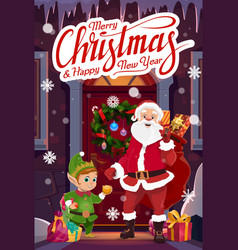 santa and gnome with christmas gifts red bag vector image
