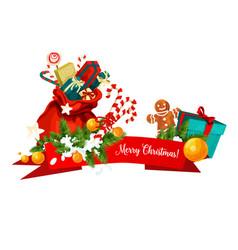 Santa bag with christmas gift festive icon design vector