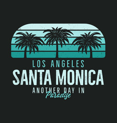 Santa monica beach graphic for t-shirt prints vector