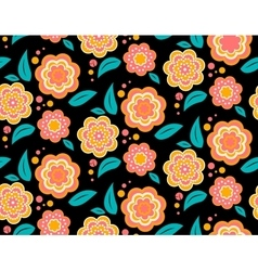 Seamless spring flower pattern on black background vector image vector image