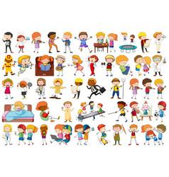 set cartoon character vector image