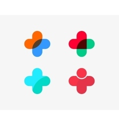 Set of color medical logotype with cross vector