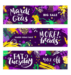 Set of mardi gras banners vector