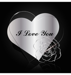 Silver and glass hearts with flower vector