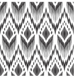 Simple ikat pattern in black and white colors vector
