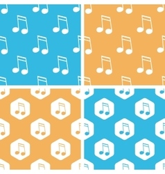 Sixteenth note pattern set colored vector image
