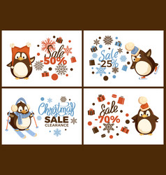 Skating and skiing penguin christmas sale vector