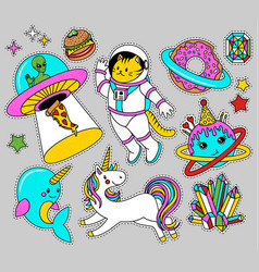 Space patch badges in 80s-90s style vector