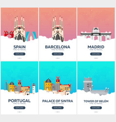 Spain portugal time to travel set of travel vector