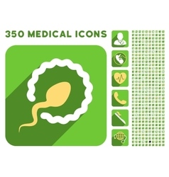Sperm penetration icon and medical longshadow icon vector