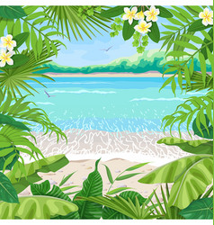 Summer background with tropical frame on seaside vector
