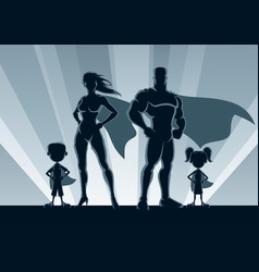 Superhero family silhouettes vector