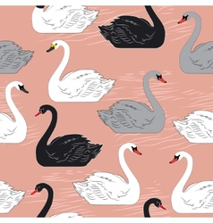 Swans Seamless pattern Template for design vector image