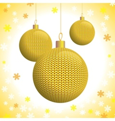 Three Gold Knitted Christmas Balls vector