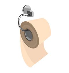 Toilet paper on metal paper holder vector