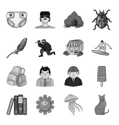 Toy horror story and other web icon in monochrome vector