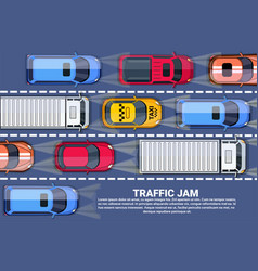 Traffic jam on road top view with highway full of vector
