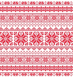 Ukrainian Belarusian red embroidery seamless patt vector image