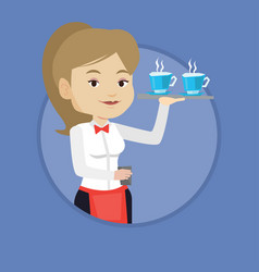 waitress holding tray with cups of coffeee or tea vector image