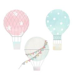 Watercolor air baloons collection vector