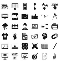 Website icons set simple style vector