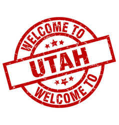 Welcome to utah red stamp vector